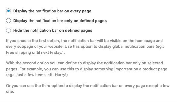 Notification Bar Display settings