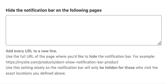 Hide notification bar of defined pages