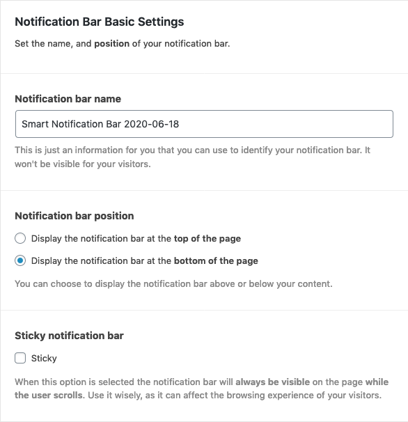 Notification bar general and position settings