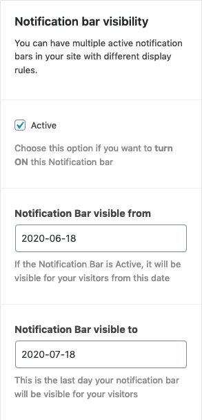 Notification Bar visiblity settings