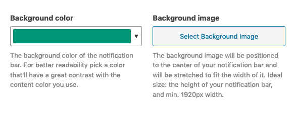 Notification bar background settings